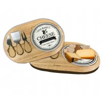 Rubber Wood Cheese Board Set