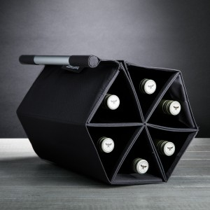ZEbag (Black) - 6-Bottle Ultimate Wine Bottle Carrying Case + Wine Rack + Wall-Mounted Wine Holder