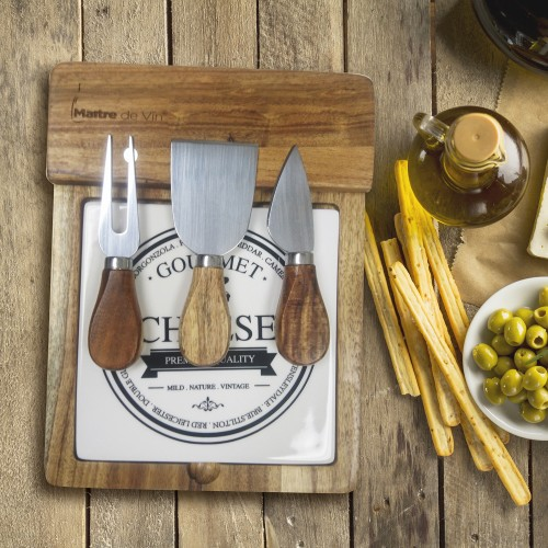 Acacia Wooden Cheese Board with Slicing Tool Set