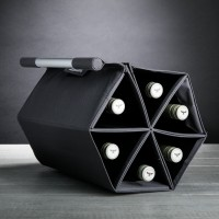 ZEbag (Charcoal / Grey) - 6-Bottle Ultimate Wine Bottle Carrying Case + Wine Rack + Wall-Mounted Wine Holder