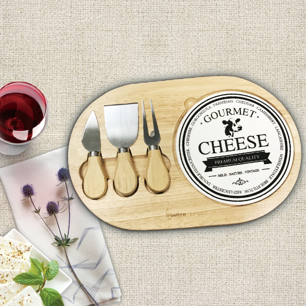 Rubber Wood Cheese Board Set 芝士板